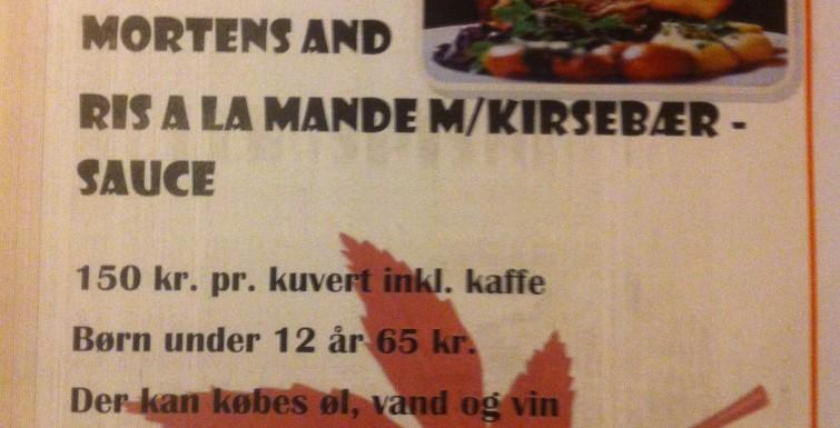 Fællesspisning Mortens Aften 10. Nov. kl. 18